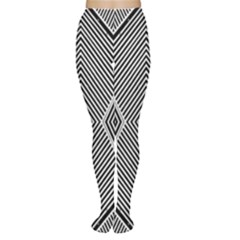 Black And White Line Abstract Women s Tights