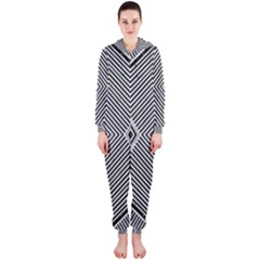 Black And White Line Abstract Hooded Jumpsuit (Ladies)