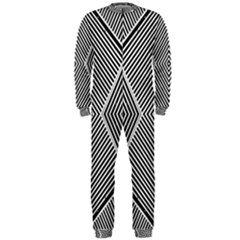 Black And White Line Abstract Onepiece Jumpsuit (men)