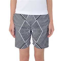 Black And White Line Abstract Women s Basketball Shorts