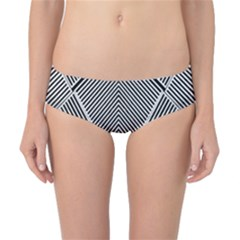 Black And White Line Abstract Classic Bikini Bottoms