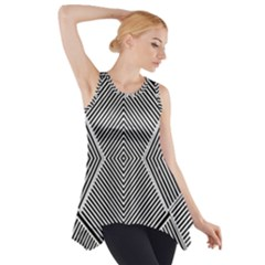 Black And White Line Abstract Side Drop Tank Tunic
