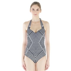 Black And White Line Abstract Halter Swimsuit