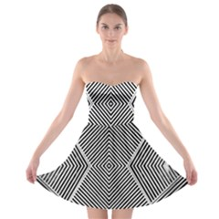 Black And White Line Abstract Strapless Bra Top Dress