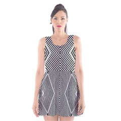 Black And White Line Abstract Scoop Neck Skater Dress