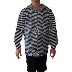 Black And White Line Abstract Hooded Wind Breaker (Kids)
