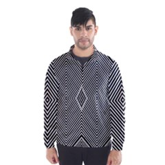 Black And White Line Abstract Wind Breaker (men)