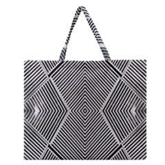 Black And White Line Abstract Zipper Large Tote Bag