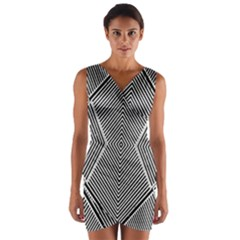 Black And White Line Abstract Wrap Front Bodycon Dress