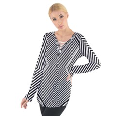 Black And White Line Abstract Women s Tie Up Tee