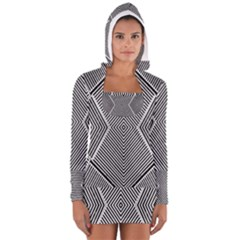 Black And White Line Abstract Women s Long Sleeve Hooded T-shirt
