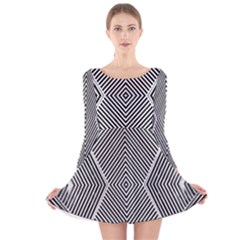 Black And White Line Abstract Long Sleeve Velvet Skater Dress