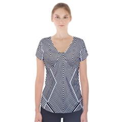 Black And White Line Abstract Short Sleeve Front Detail Top