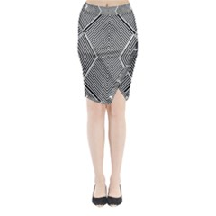 Black And White Line Abstract Midi Wrap Pencil Skirt