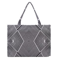 Black And White Line Abstract Medium Zipper Tote Bag