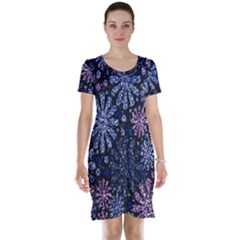 Pixel Pattern Colorful And Glittering Pixelated Short Sleeve Nightdress