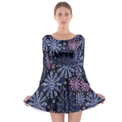 Pixel Pattern Colorful And Glittering Pixelated Long Sleeve Skater Dress