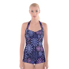 Pixel Pattern Colorful And Glittering Pixelated Boyleg Halter Swimsuit