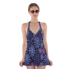 Pixel Pattern Colorful And Glittering Pixelated Halter Swimsuit Dress