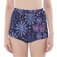 Pixel Pattern Colorful And Glittering Pixelated High-Waisted Bikini Bottoms