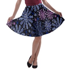 Pixel Pattern Colorful And Glittering Pixelated A-line Skater Skirt