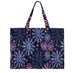 Pixel Pattern Colorful And Glittering Pixelated Zipper Large Tote Bag