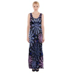 Pixel Pattern Colorful And Glittering Pixelated Maxi Thigh Split Dress