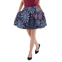 Pixel Pattern Colorful And Glittering Pixelated A-Line Pocket Skirt