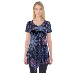 Pixel Pattern Colorful And Glittering Pixelated Short Sleeve Tunic