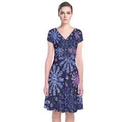 Pixel Pattern Colorful And Glittering Pixelated Short Sleeve Front Wrap Dress