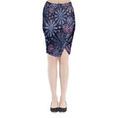 Pixel Pattern Colorful And Glittering Pixelated Midi Wrap Pencil Skirt