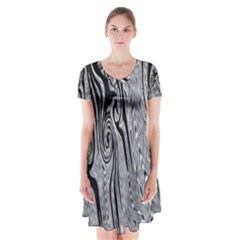 Abstract Swirling Pattern Background Wallpaper Short Sleeve V-neck Flare Dress