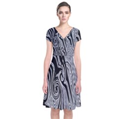 Abstract Swirling Pattern Background Wallpaper Short Sleeve Front Wrap Dress