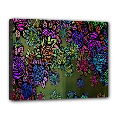 Grunge Rose Background Pattern Canvas 14  x 11
