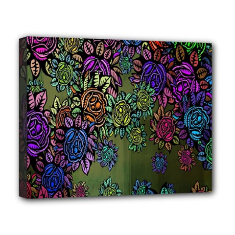 Grunge Rose Background Pattern Deluxe Canvas 20  x 16