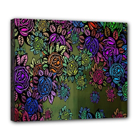Grunge Rose Background Pattern Deluxe Canvas 24  x 20