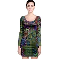 Grunge Rose Background Pattern Long Sleeve Bodycon Dress