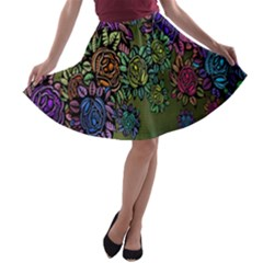 Grunge Rose Background Pattern A Line Skater Skirt