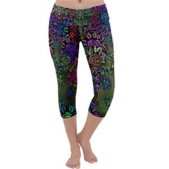 Grunge Rose Background Pattern Capri Yoga Leggings