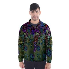 Grunge Rose Background Pattern Wind Breaker (men)