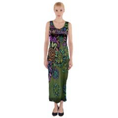 Grunge Rose Background Pattern Fitted Maxi Dress