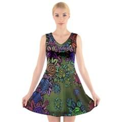 Grunge Rose Background Pattern V-Neck Sleeveless Skater Dress