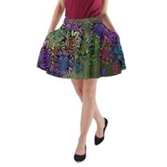Grunge Rose Background Pattern A Line Pocket Skirt