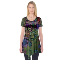 Grunge Rose Background Pattern Short Sleeve Tunic