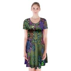 Grunge Rose Background Pattern Short Sleeve V-neck Flare Dress