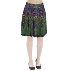 Grunge Rose Background Pattern Pleated Skirt