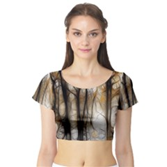 Fall Forest Artistic Background Short Sleeve Crop Top (tight Fit)