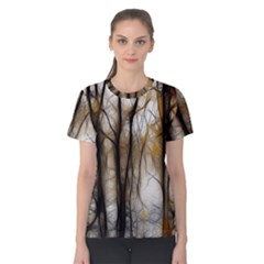 Fall Forest Artistic Background Women s Cotton Tee