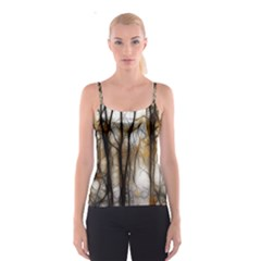 Fall Forest Artistic Background Spaghetti Strap Top