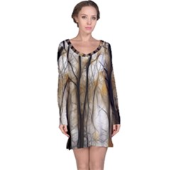 Fall Forest Artistic Background Long Sleeve Nightdress